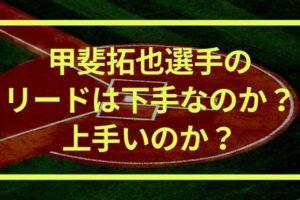 甲斐拓也選手のリードは下手じゃない!
